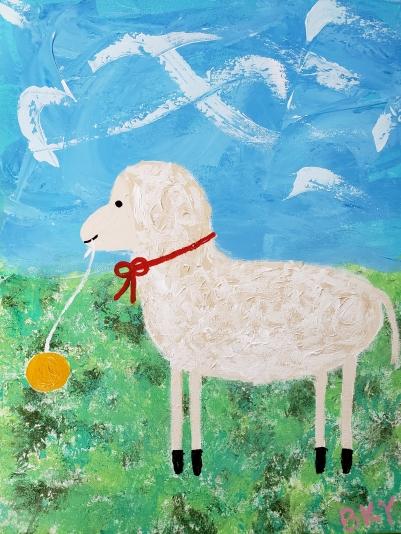 Vintage Sheep and Yoyo Enjoy the Breeze